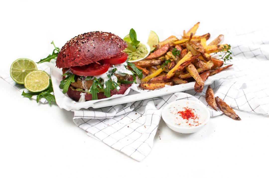 Fitness Burger mit Thymian Limetten Fries http://wp.me/p6GO5w-Fd
