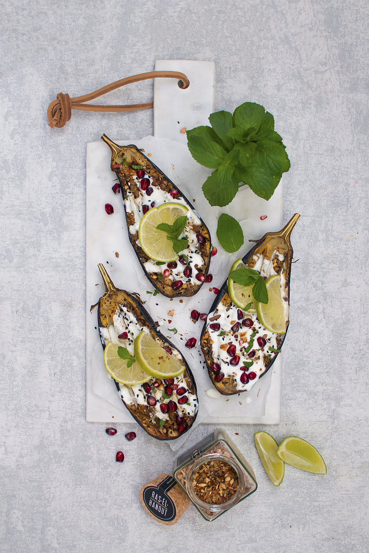 Marokkanische Auberginen mit Granatapfel-Limetten Joghurt https://wp.me/p6GO5w-13D